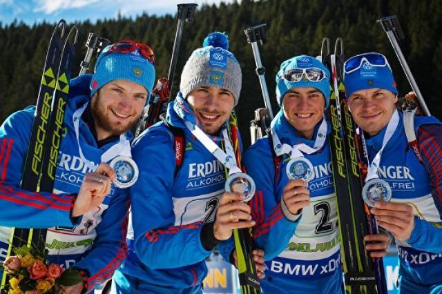 Российские биатлонисты стали вторыми в эстафете на этапе КМ в Поклюке