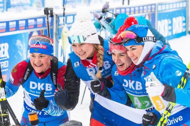 Двойной триумф Российских биатлонистов – мужская и женская сборные одержали победы в эстафетах в Оберхофе