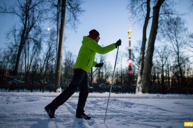 Лыжня в парке «Останкино». Маршрут проложен.