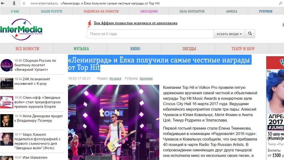 Intermedia, «Ленинград» и Ёлка получили самые честные награды от Top Hit